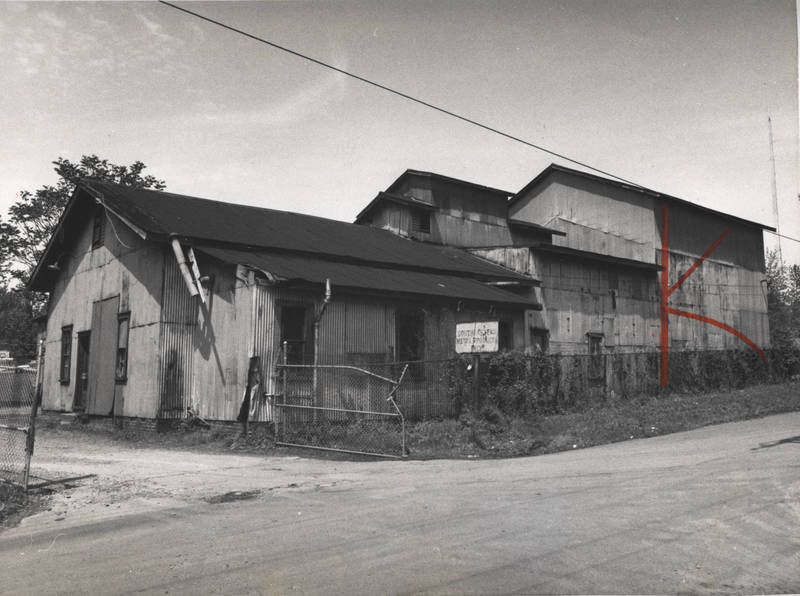 """Southeastern Metal Products building at """"Murrays Mill"""" the area was developed originally as the E. Van Winkle Gin and Machine Works, 1200 Foster Street, NW, Atlanta, Georgia, photograph from 1978."""
