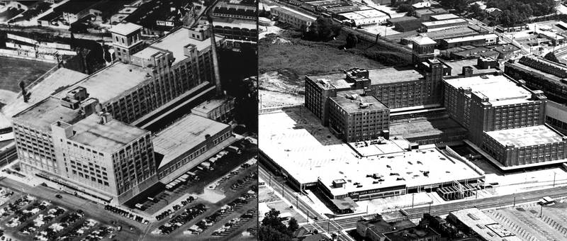 Sears, Roebuck and Company fulfillment center building on Ponce de Leon Avenue before and after a major expansion, Atlanta, Georgia, September 10, 1967.