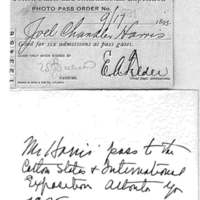 Mr. Harris's pass to the 1895 Cotton States and International Exposition
